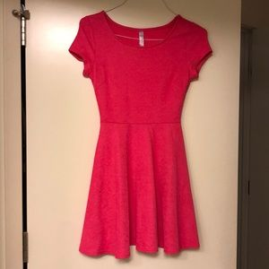 Hot pink ladies fit and flair dress